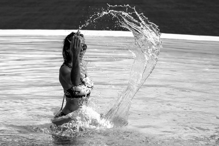 Black and white swimsuit photo shoot.