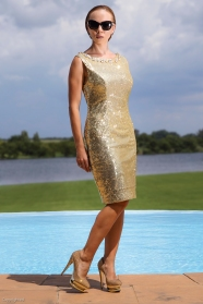 Gold sequins dress with Swarovski embellishment.