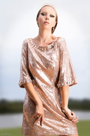 Rose gold dress with Swarovski embellishment.